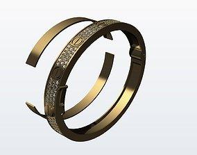 3D print model Cartiero bracelet pave diamond Phony