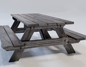 3D asset Low Poly Picnic Bench Outdoor Table Gaming 2