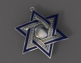 gold 3D print model Pendant Star of David