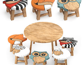 3D kids furniture01-animal chairs