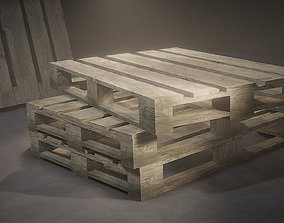 Industrial wooden pallet 3D model game-ready