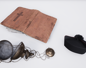 3D model Christian regalia Incense burner Bible Priest hat