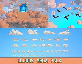 3D Low poly Clouds Mega Pack