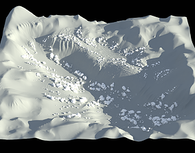 High-poly terrain in low-poly style 3D
