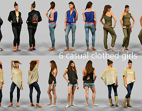 6 casual clothed girls 3D asset