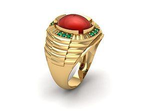 800 Ruby Oval Men Ring 3D print model
