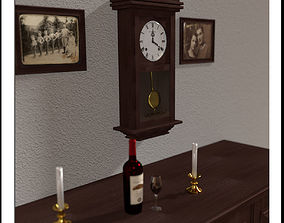Old Clock with Pendulum 3D model