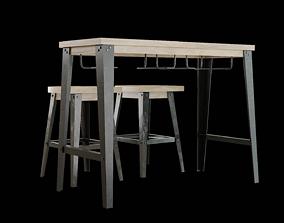 Dining Table Set-05 3D asset