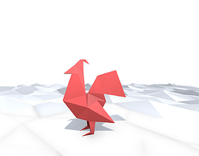 Origami Rooster 3D model