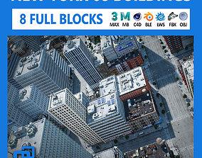 NYC - 8 Blocks - 68 Buildings V2 3D model game-ready