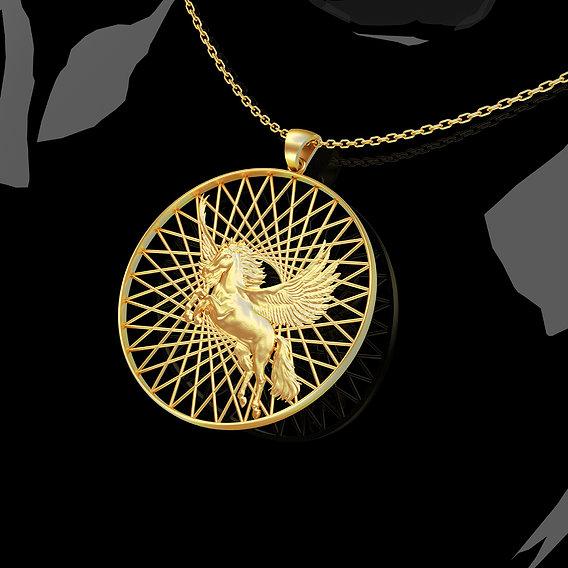 Bird-Horse-Pendant-jewelry-Gold-3D-print-model 3D print model