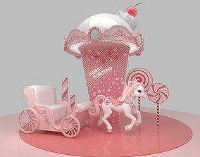 3D Christmas merry goround