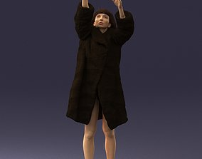 3D Woman in a fur coat reaches for the sky 0261