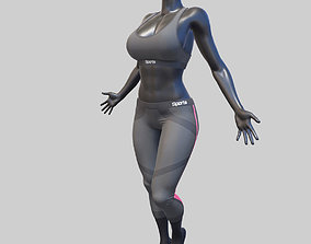 Female Sportswear with mannequin PBR 3D model low-poly