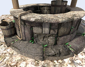 3D model detailed medieval water well