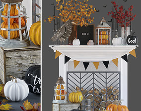 Fireplace with autumn decor 3D model