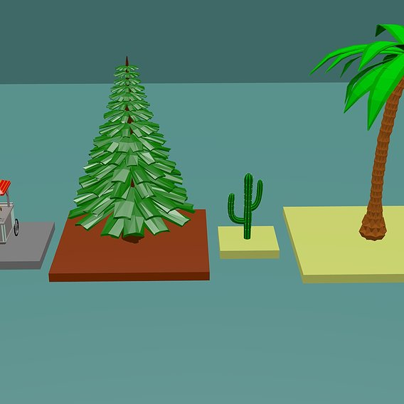 HotDog Stand,Pine Tree,Cactus,Palm Tree all lowpoly
