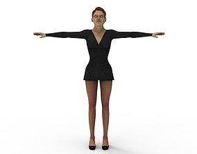 rigged 3D Black Dress Female Woman buss