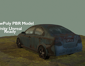 Abandoned car post-Apocalypse style Low Poly realtime