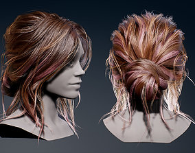 3D asset Game Real-Time Bun Hairstyle UE4