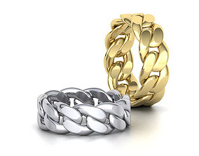 Cuban Link Chain Ring Stackble Ring 3D printable model 1