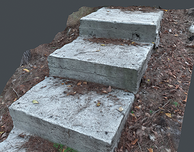 Photoscanned Outdoor rocky steps 3D model VR / AR ready
