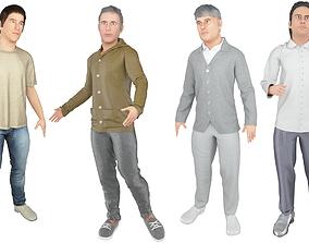 4x Man models real cloth simulation conversation loop 3D 1