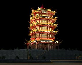 The Huanghelou Tower night sence 3D model city