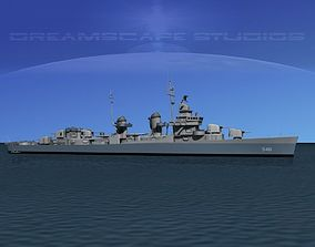 Fletcher Class Destroyer DD-661 USS Kidd 3D model rigged MAX
