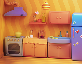 Cartoon Kitchen --- Room House 3D model