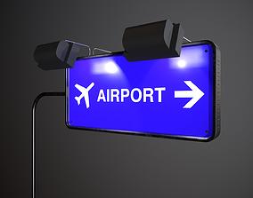 3D asset Airport Sign Board 004