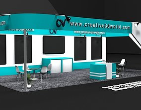 3D model 3 Side Open Exhibiton Stall Design