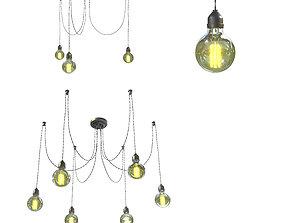 Edison lamp chandelier 3D