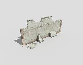 low poly broken wall 3D model