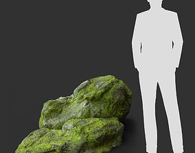 3D asset Low poly jungle mossy modular rock 5