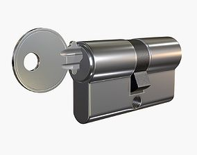 Euro Profile Cylinder Barrel Lock with key 3D model