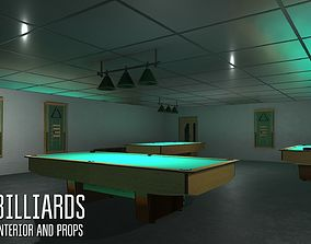 Billiards - interior and props 3D asset