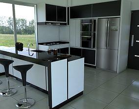 3D house Kitchen - Black White