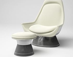 3D model White modern lounge armchair 38 am5