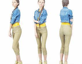 3D asset Jeans Jacket Girl in Heels Long Braid