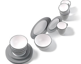 Grey Dishes Set 3D Model