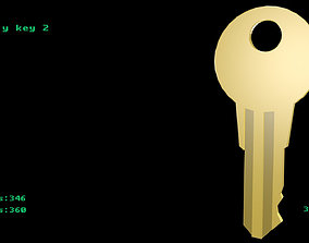 Low poly key 2 3D model