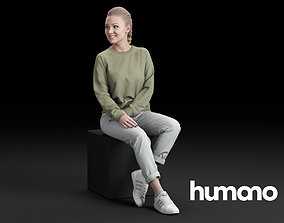 home 3D Humano Casual woman sitting and talking 0218