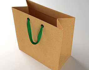 Paper Shopping Bag with Ribbin Handle 3D model