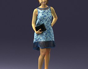 Girl in a blue sundress with a clutch 0280 3D Print Ready
