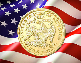 1870 S Seated Liberty Dollar US Coin 3D print model
