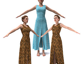 3d realistic female character with clothing dress rigged