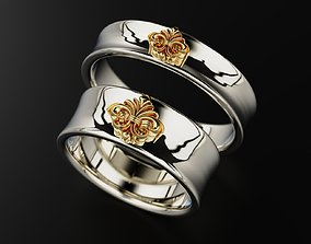 3D print model Wedding ring heraldic lily