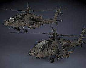 3D model low-poly AH-64A Apache