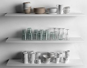 dishes 3D Sets of Mugs Bowls and Drinking Glasses